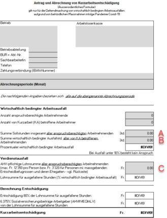 Antrag und Abrechnung von Kurzarbeitsentschädigung