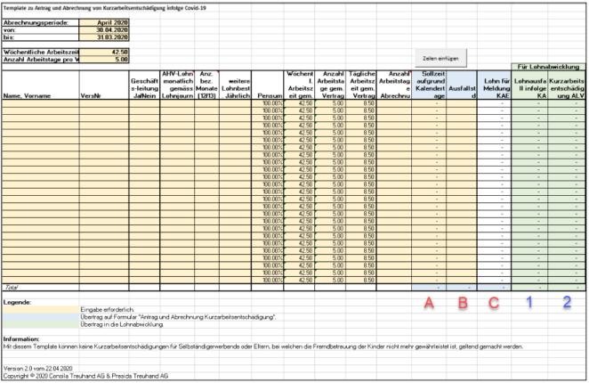 Abrechnung Kurzarbeitsentschädigung Excel-Template