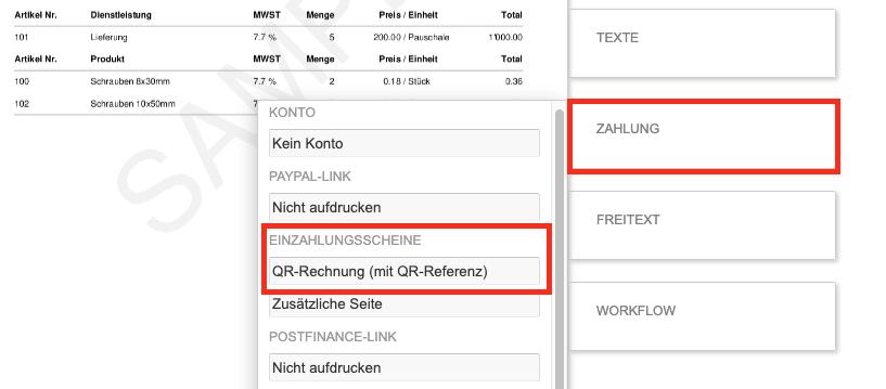 QR-Rechnung erstellen - Zahlungsmethode auswählen